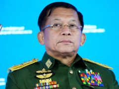 Senior General Min Aung Hlaing has promised that elections will be held in Myanmar in two years (AP Photo/Alexander Zemlianichenko, Pool)