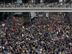 Protesters take part in a rally in Hong Kong (Vincent Yu/AP)