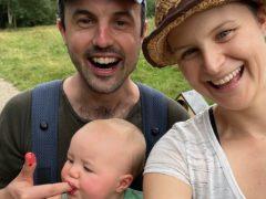 Jamie McDonald, partner Anna McNuff and their baby daughter Storm (Jamie McDonald/PA)