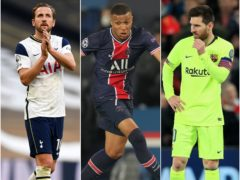 Harry Kane, Kylian Mbappe and Lionel Messi, l-r (Daniel Leal-Olivas/Julien Poupert/Peter Byrne/PA)
