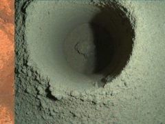 This pair of images made available by NASA shows the drill hole from Perseverance's first sample-collection attempt on Mars. NASA is blaming unusually soft rock for last week's sampling failure (NASA/JPL-Caltech/MSSS/AP)
