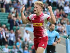 Louis Lynagh celebrates during the 2021 Gallagher Premiership final (Nigel French/PA)