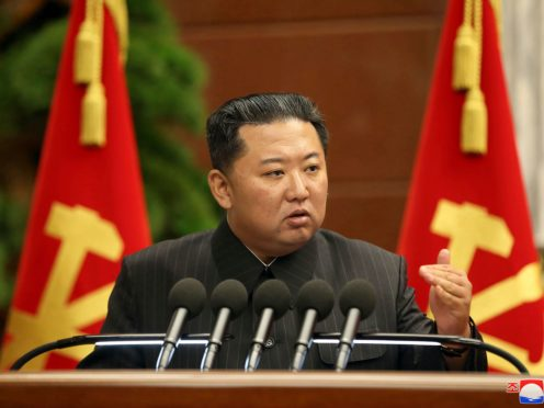 North Korean leader Kim Jong Un delivers a speech earlier this month. The North first two ballistic missiles into the sea on Wednesday, according to the South Korean military (Korean Central News Agency/Korea News Service/AP)