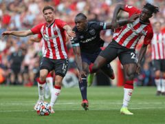 Michail Antonio, centre, saw red as West Ham and Southampton drew 0-0 (Kieran Cleeves/PA)