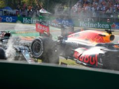 Red Bull driver Max Verstappen, right and Mercedes driver Lewis Hamilton crashed out at Monza (Luca Bruno/AP)