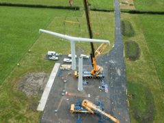 A new design of electricity pylon has been erected in Somerset (Nick Dimbleby/National Grid/PA)