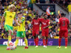 Watford's Ismaila Sarr celebrates scoring his side's third goal against Norwich (Joe Giddens/PA)