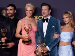Ted Lasso stars Brett Goldstein, Hannah Waddingham, Jason Sudeikis and Juno Temple with their Emmys (Chris Pizzello/AP)