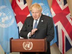 Prime Minister Boris Johnson addresses the media at the United Nations General Assembly (Stefan Rousseau/PA)