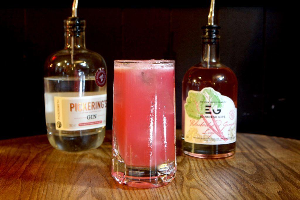 Raspberry and rhubarb gin cocktail