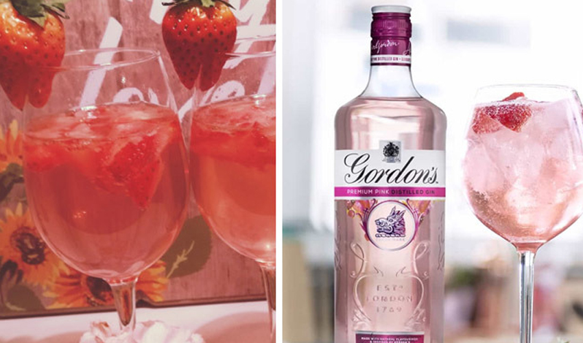 pink gin and prosecco cocktails