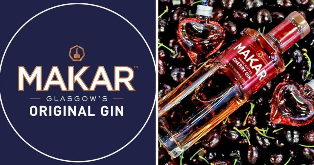 Makar Cherry Gin and two gin hearts