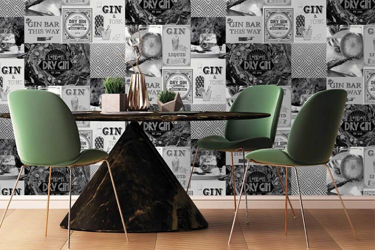 Crown Gin O'Clock Mono/Silver Glitter Wallpaper