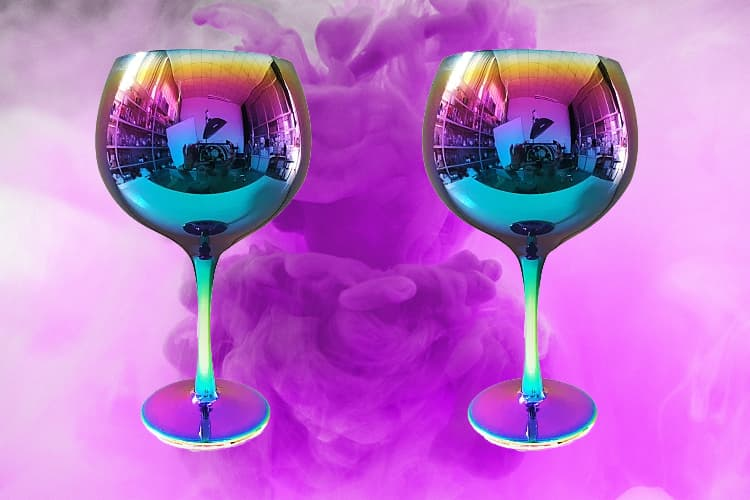 Featured Image for Asda Oil Slick Gin Glasses Will Add A Stylish Quirk To Your G&T