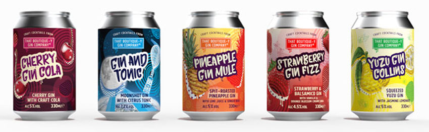 that boutiquey gin cans