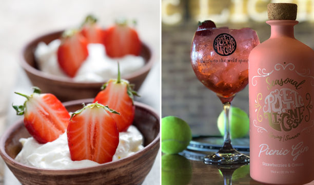 strawberries and cream gin cocktail