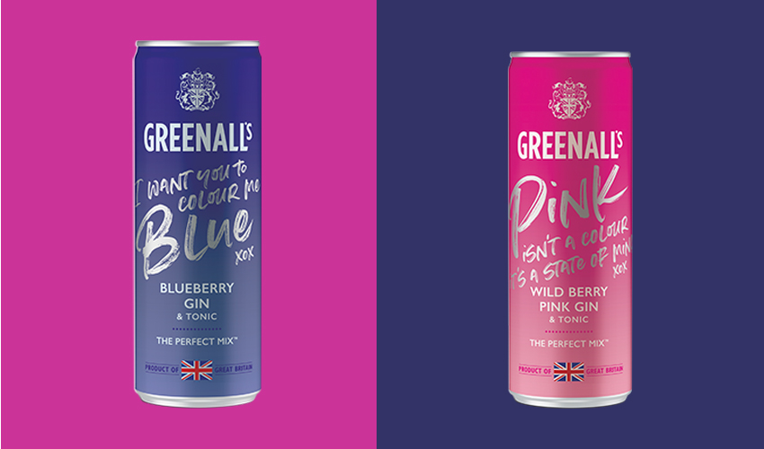 Greenalls pink and blue gin cans