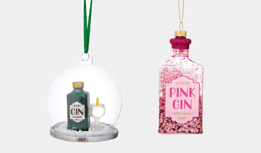 gin shaped christmas baubles