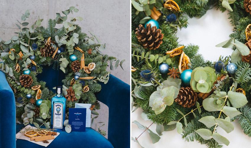 bombay sapphire garnish wreath