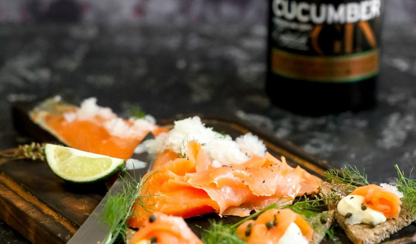 smoked salmon and cucumber gin
