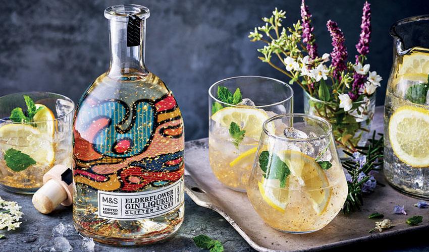elderflower gin liqueur glitter globe
