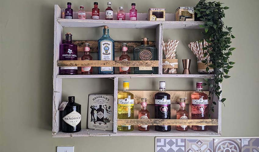 Featured Image for People Have Been Upcycling Their Old Pallets into Gin Shelves