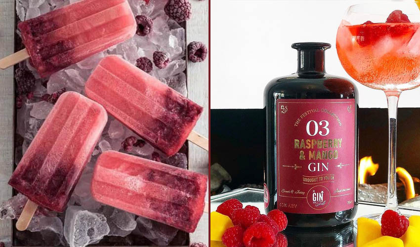 raspberry & mango gin ice lollies