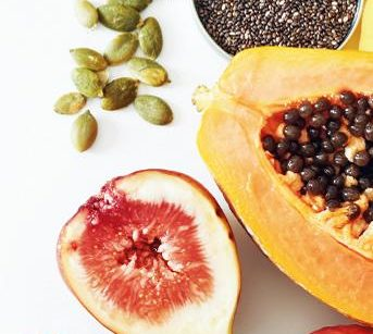 A selection of prepared fruits and seeds
