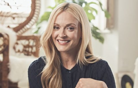 Fearne Cotton sat in her living room smiling at the camera