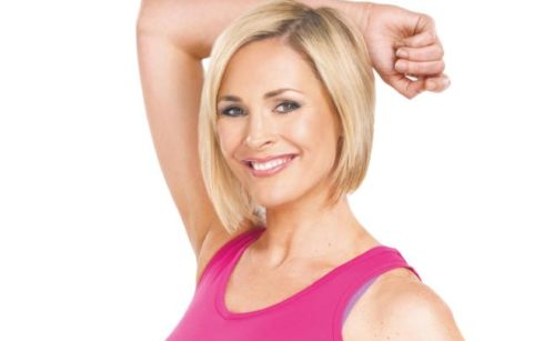 Jenni Falconer posing in gym gear