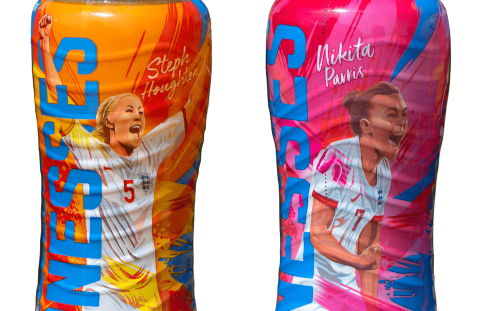 The England Lionesses on the limited edition Lucozade Sport bottles