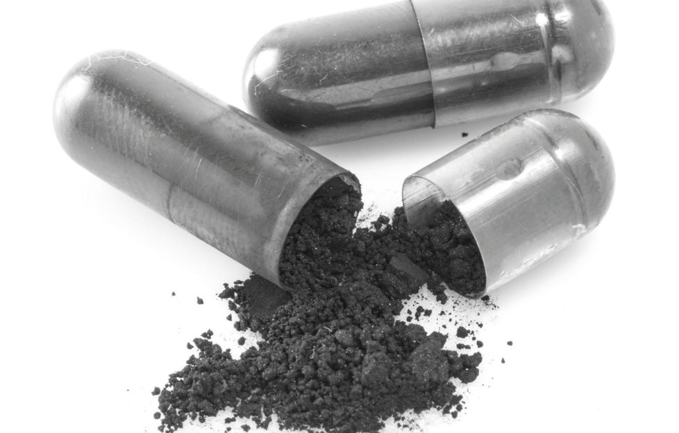 Charcoal in the form of a powder to whiten teeth