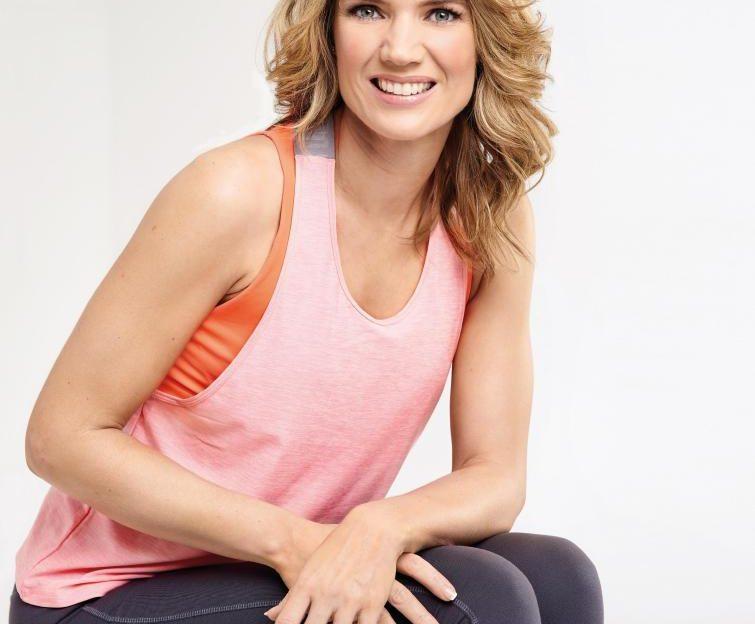 Charlotte Hawkins posing in fitnesswear