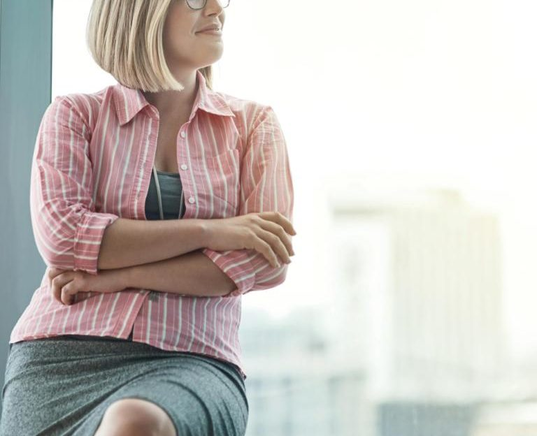 Woman wearing office clothes