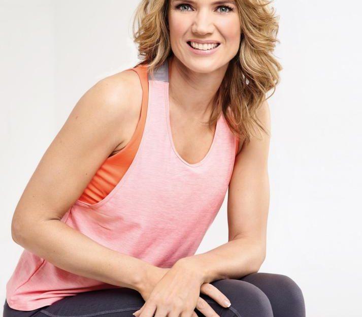 Charlotte Hawkins posing in gym gear