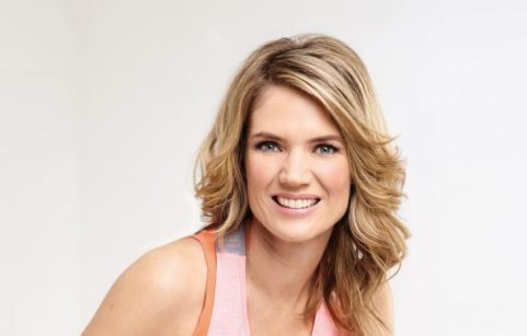 Charlotte Hawkins posing in gym gear