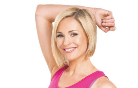 Jenni Falconer posing in workout clothes