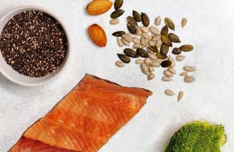 Seeds, nuts, salmon and broccoli