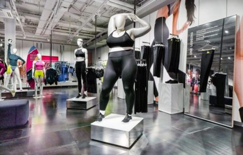 Plus-sized mannequins at Nike's flagship Oxford Circus store