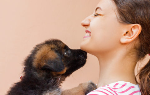 Woman being licked by puppy