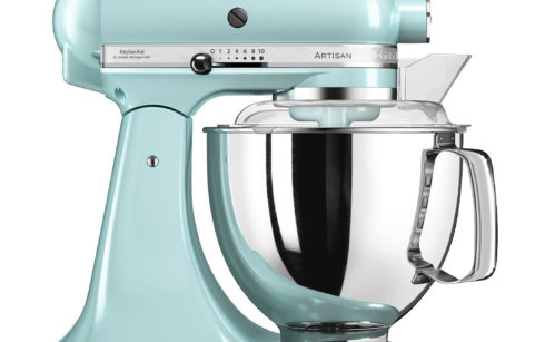 A baby blue food mixer with bowl and whisk for baking and cooking
