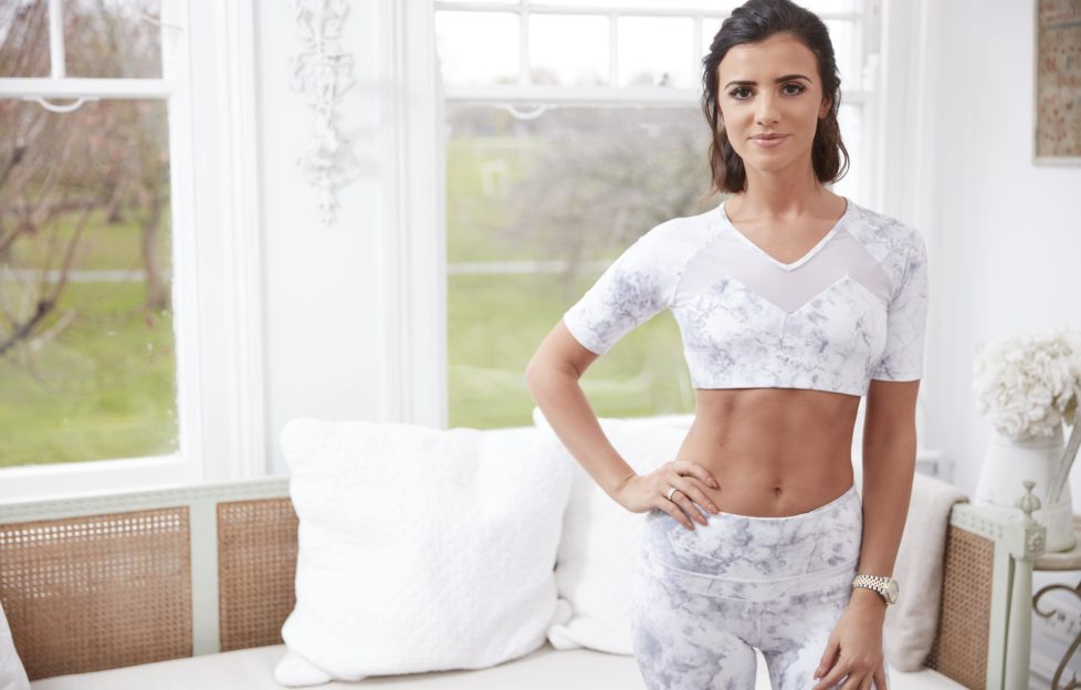Model and fitness enthusiast, Lucy Mecklenburgh poses in marble-patterned workout kit