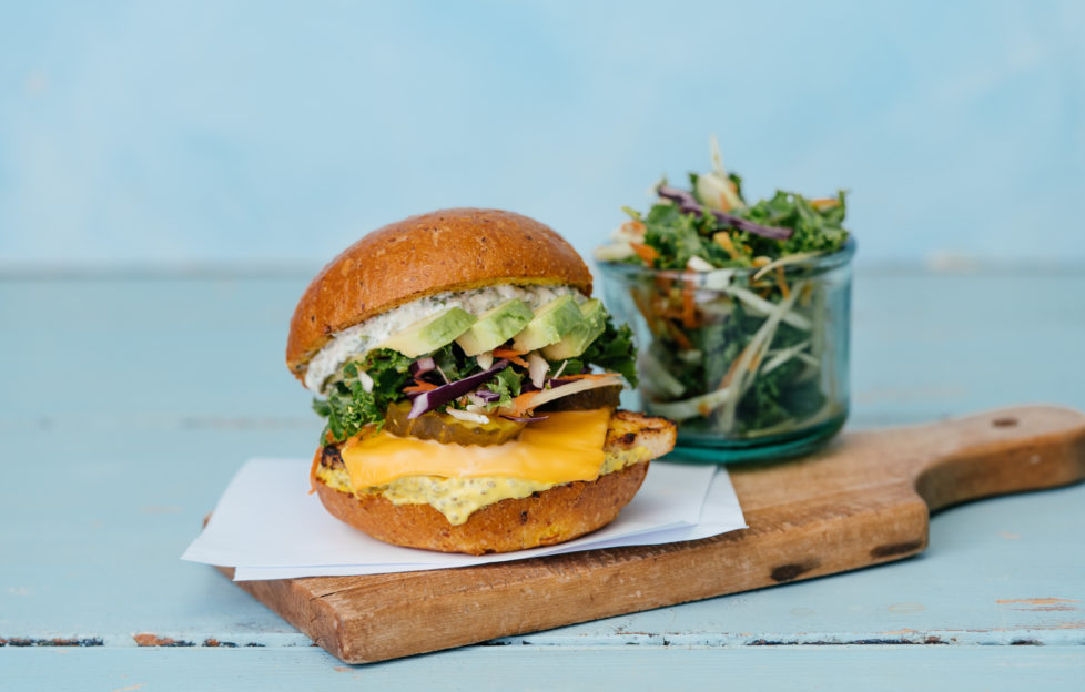 Deliveroo features a healthy burger with a side of vegan slaw