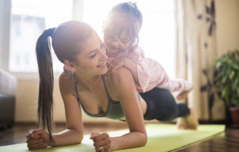 Mum yoga with child