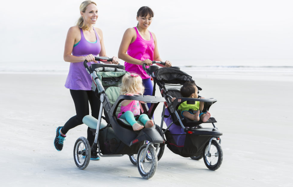 Mums running with babies in prams