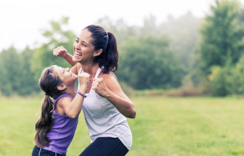 exercises outdoors with the kids