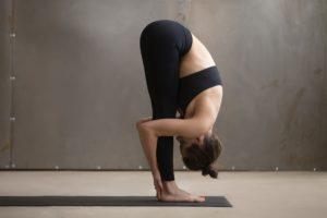 Woman yoga pose on mat