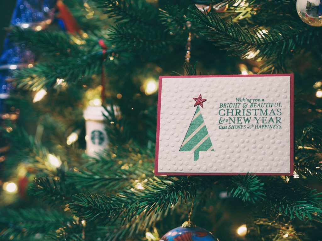 christmas card in tree