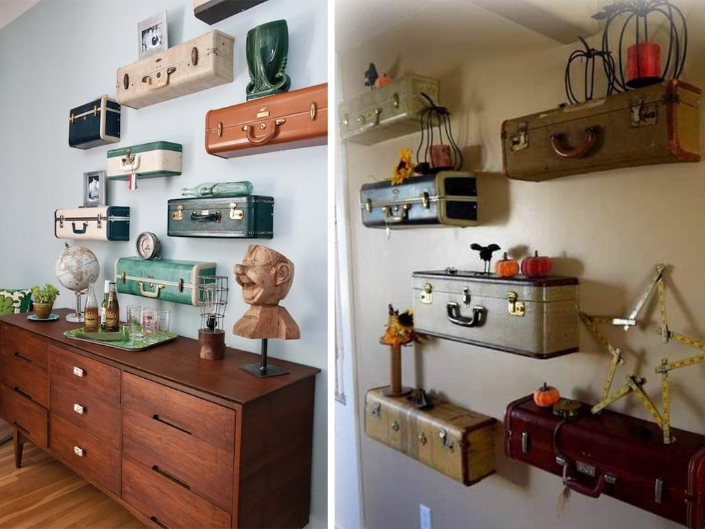 upcycled suitcase shelves