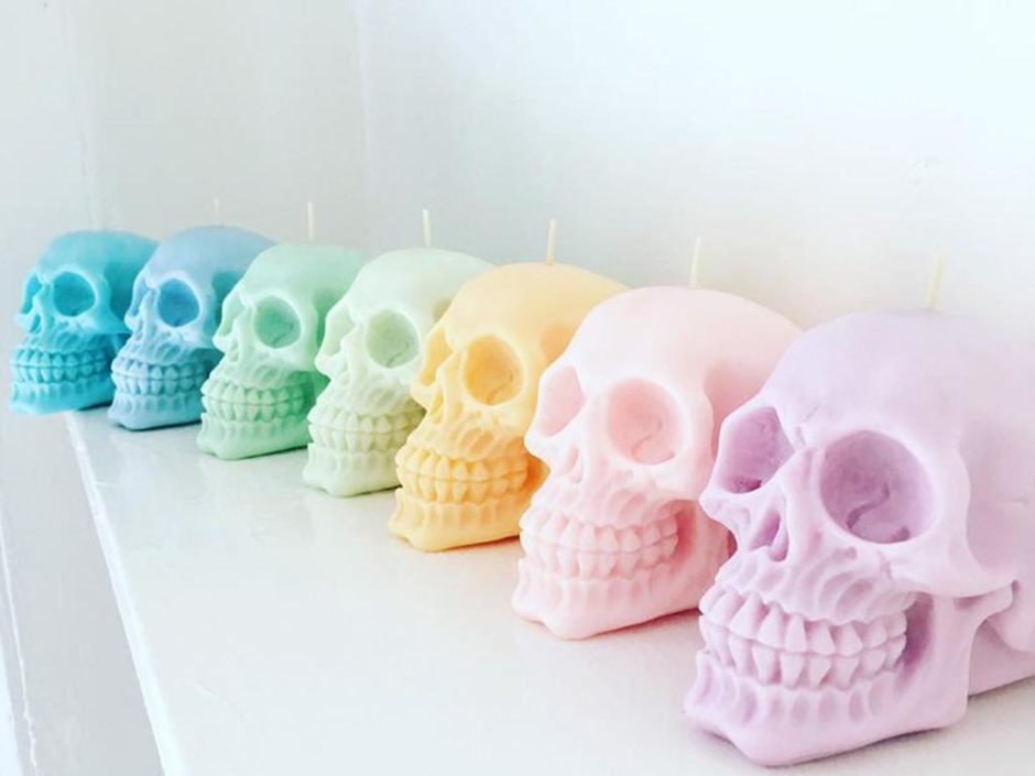 colourful halloween skull candles